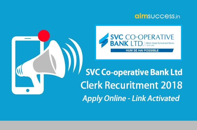 SVC Co-operative Bank Clerk Apply Online Link Activated