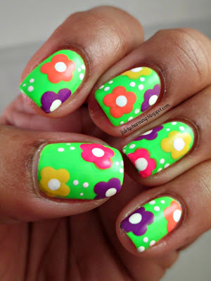 psychedelic flowers, hippie, 60's, neon, Savina Power Up, Orly Mayhem Mentality, nails, nail art, nail design, mani