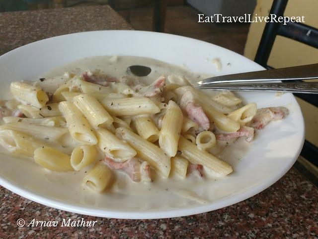 Bacon Pasta in Garlic sauce McLeodganj Foodtrail