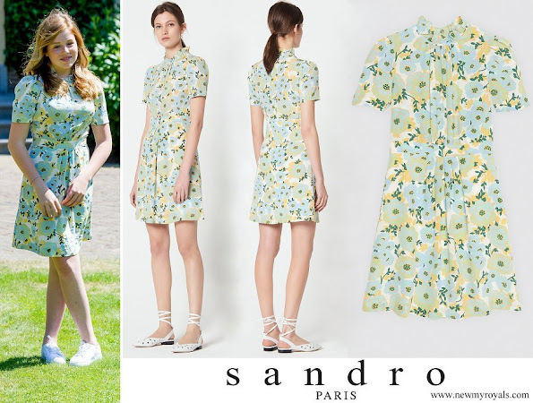 Princess Alexia wore SANDRO short sleeve high neck silk dress