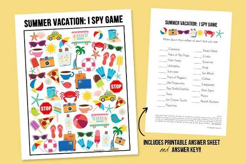 Summer Vacation I Spy Printable