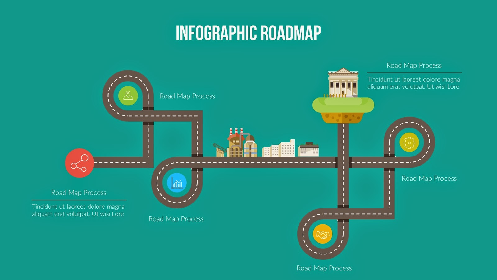 free flat design roadmap for powerpoint template