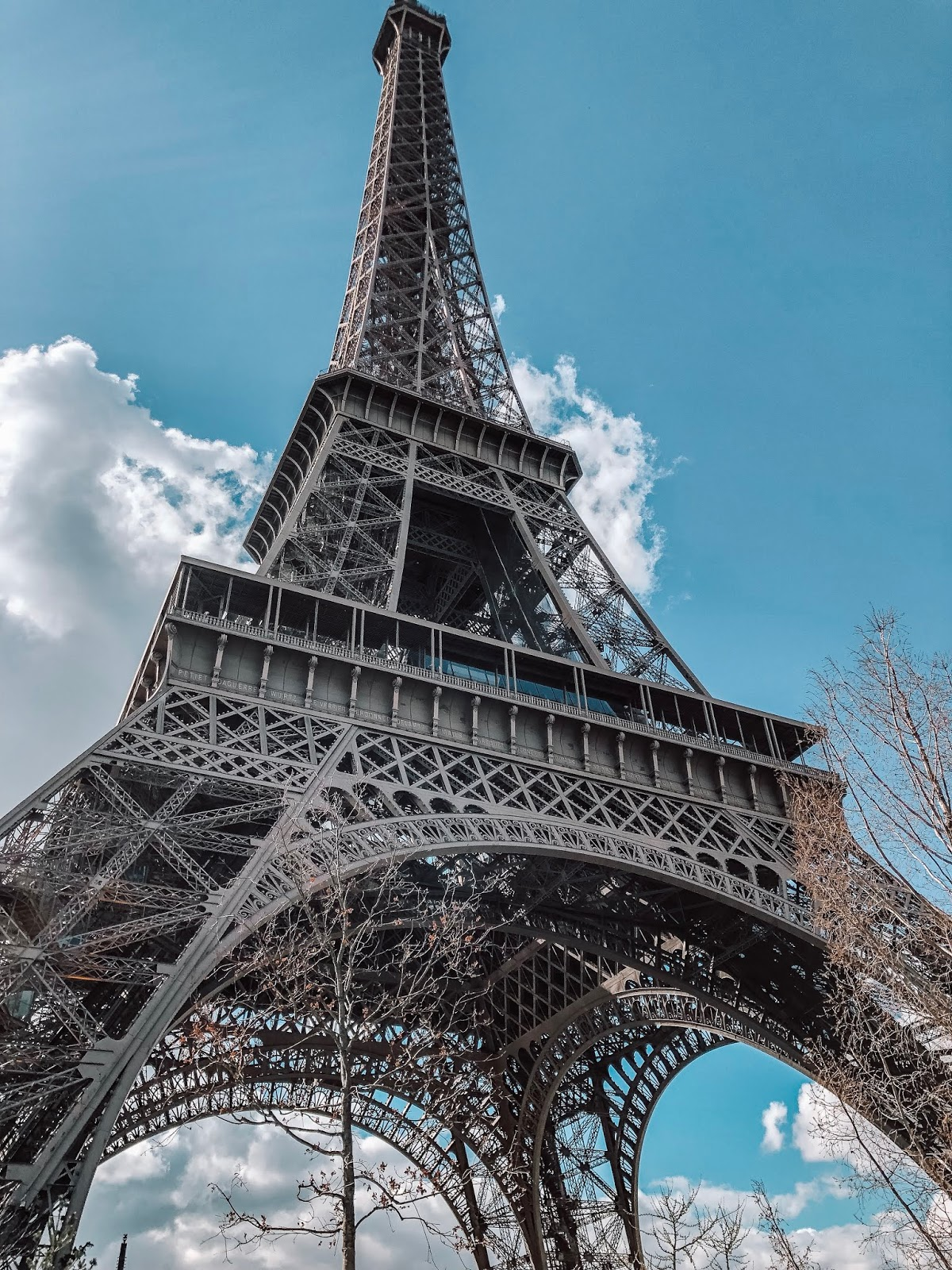 a view of the eiffel tower in paris, france