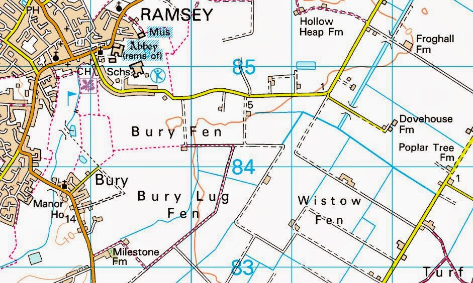 Map showing village of Ramsey and Dovehouse Farm where Josef Jakobs landed.