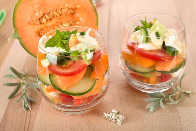 Salat mit Charentais- Melone. Edyta Guhl.