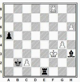 Estudio artístico de ajedrez compuesto por H. Mattison (Primer Premio, Magiar Sakkvilag, 1925)