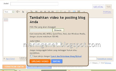 Menambahkan Video, Tampilan Lama Blogger