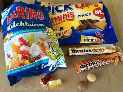 Haribo Milchbären, Pick Up! Minis und Mentos Choco