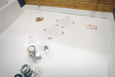 ceramic floor stencil tile paint