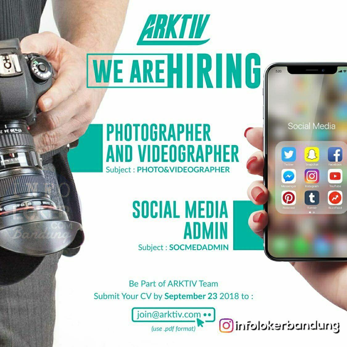 Lowongan Kerja Photographer & Videographer Arktiv Bandung September 2018