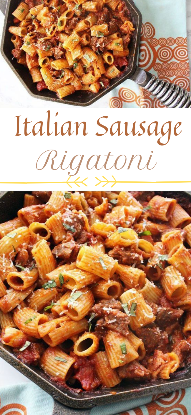 Easy, hearty rigatoni with italian sausage #dinner #healthyeat