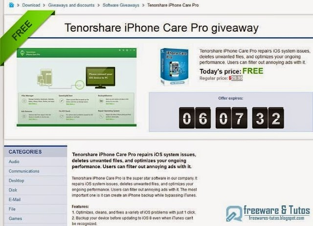Offre promotionnelle : Tenorshare iPhone Care Pro gratuit !