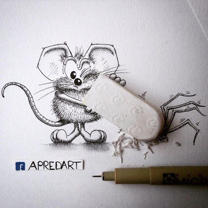 23-Delete-it-Loïc-Apreda-apredart-Drawings-of-Rikiki-the-Mouse-and-his-Famous-Friends-www-designstack-co