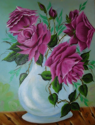 pintura em tela rosas