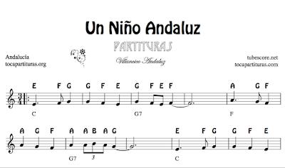 Un Niño Andaluz de diegosax Villancico Partitura de Flauta, Violín, Saxofón Alto, Trompeta, Viola, Oboe, Clarinete, Saxo Tenor, Soprano Sax, Trombón, Fliscorno, chelo, Fagot, Barítono, Bombardino, Trompa, Corno, Contrabajo, Tuba...Tablaturas de Guitarra, Banjo y Ukelele