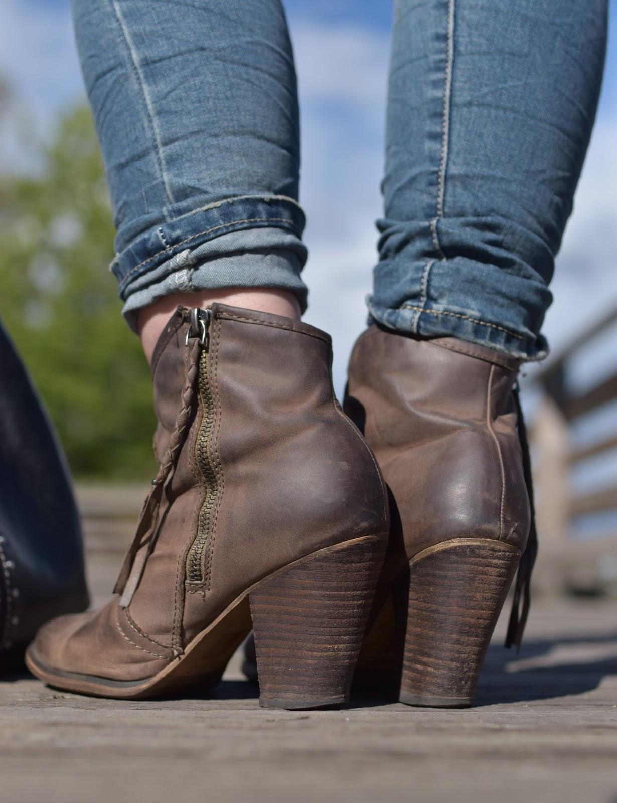 skinny jeans, Aldo western-inspired booties