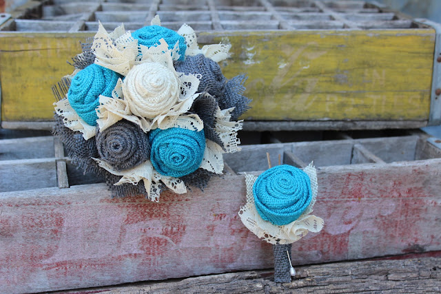 rustic turquoise and grey wedding flowers