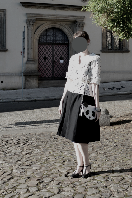 prague vintage fair, polka dots, vintage, black, white, blouse, C&A, panda, Tamaris