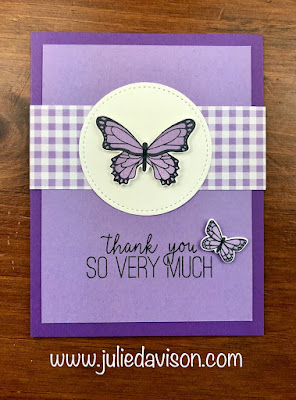 Stampin' Up! BUtterfly Gala Thank You Card ~ 2019 Occasions Catalog ~ www.juliedavison.com