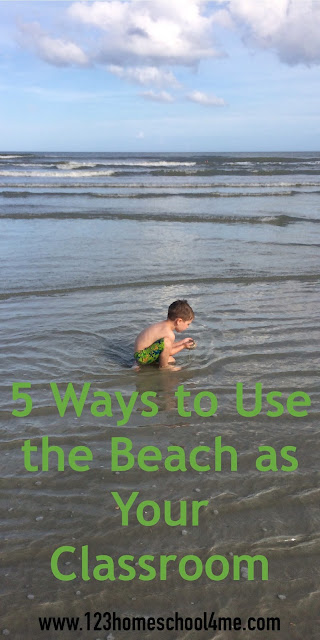 5 Ways to use the beach as your classroom - clever ideas for learning at the beach for summer learning, homeschooling, road schooling,unschooling, and more.