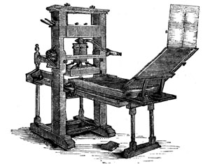 How Did The Printing Press Work Ink Was Rolled Over Raised Surface Of Movable Hand Set Block Letters Held Within A Wooden Form And Then