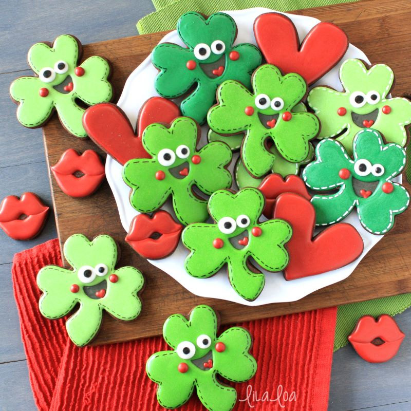 St. Patrick's Day decorated chocolate sugar cookie shamrocks