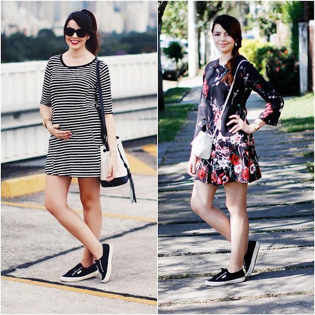 como combinar vestido e tênis looks