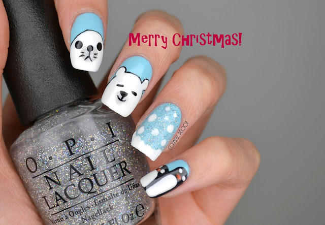 Winter Holiday Polar Bear Nail Art