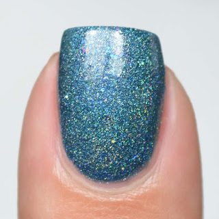 light blue holographic nail polish