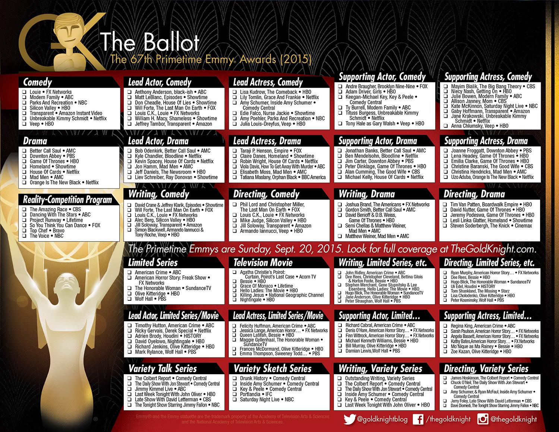 2015 Primetime Emmy Awards Printable Ballot The Gold Knight