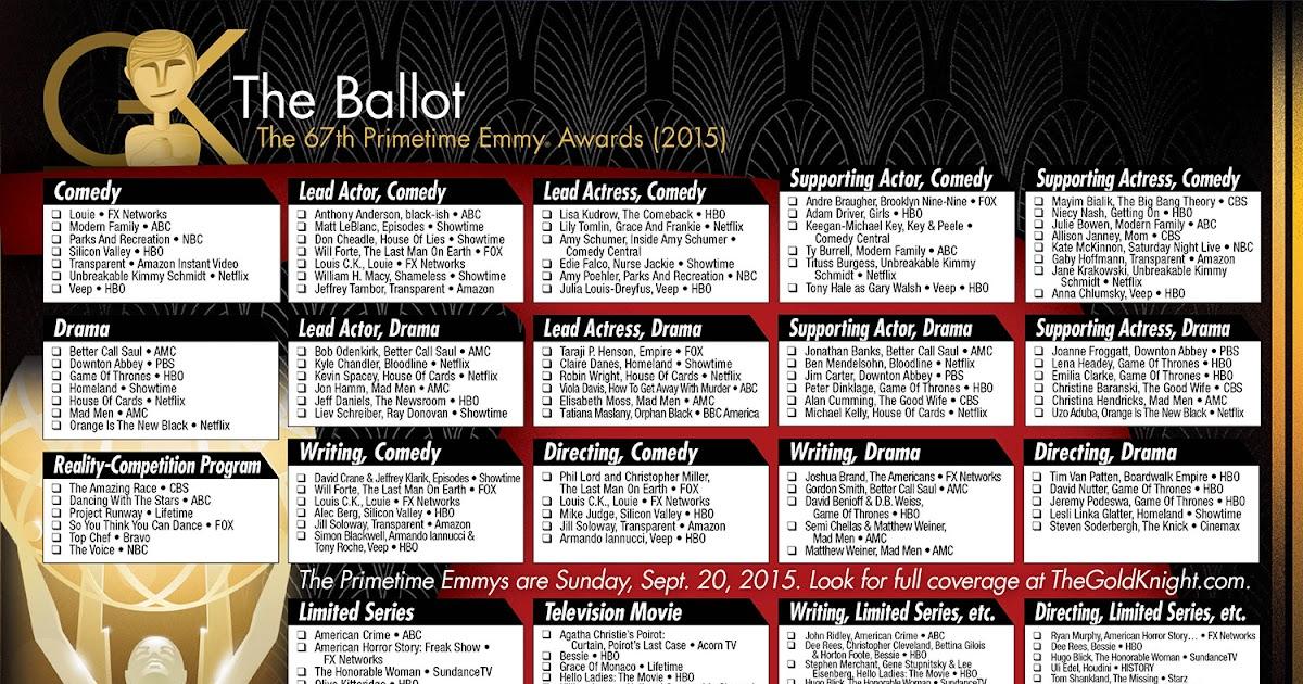 2015 Primetime Emmy Awards printable ballot
