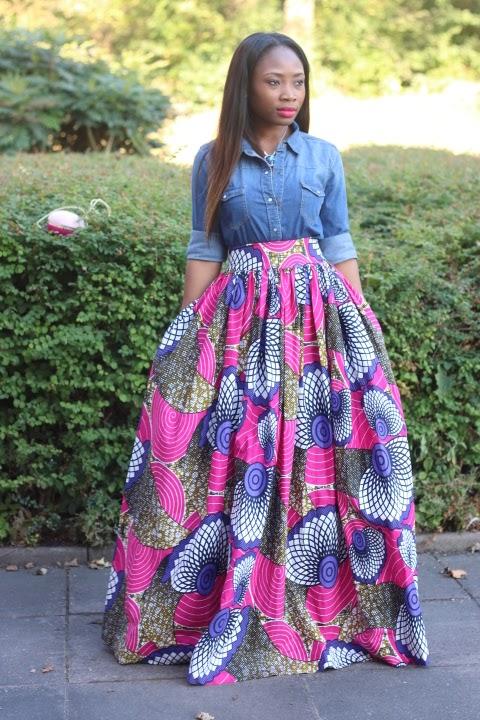 63e3e3b4aab Edaowo-Fashion Blog  Denim shirt   African print maxi skirt