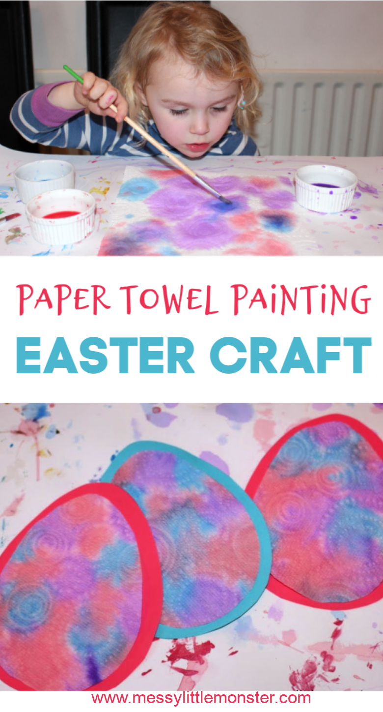 Paper towel painting is such a fun process art for toddlers and preschoolers. Use our free printable egg template to turn your paper towel art into an adorable Easter egg craft for kids.