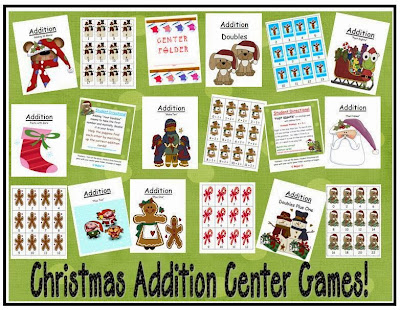 http://www.teacherspayteachers.com/Product/Nine-Christmas-Addition-Center-Games-168617