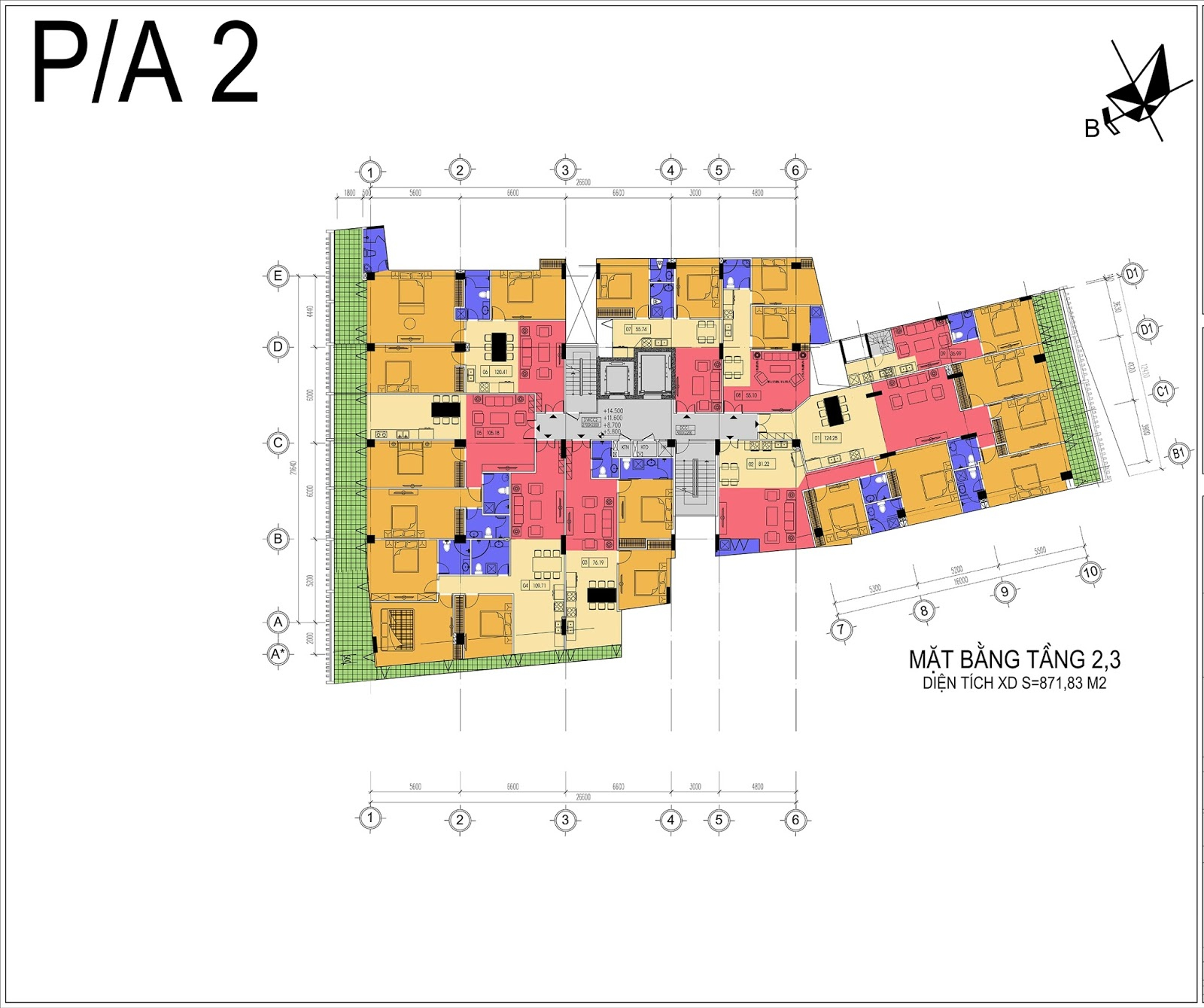 Mặt bằng điển hình tầng 2,3 Núi Trúc Square