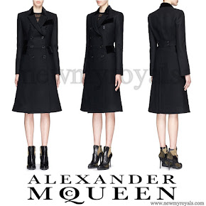 Kate Middleton Style Alexander McQueen Velvet Trim Double Breasted Wool Coat