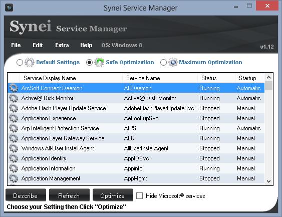 برنامج تسريع الويندوز Synei Service Manager