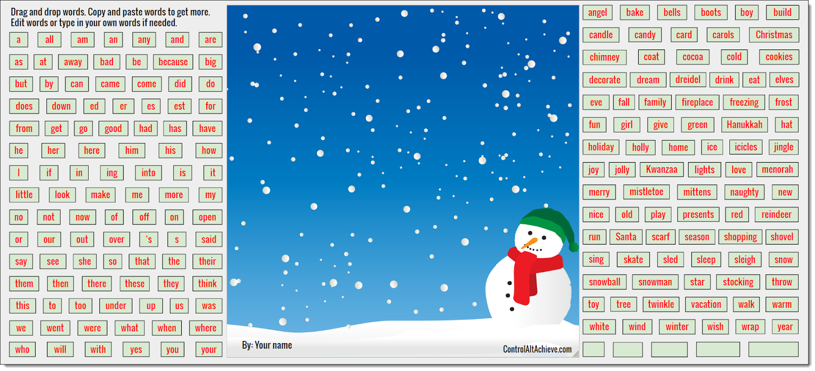 control alt achieve wintertime magnetic poetry with google drawings