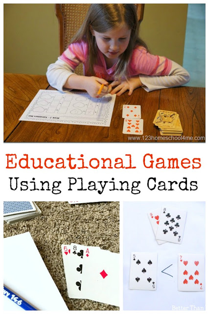 Educational Card Games Kids will Love - so many fun math games you can play using a deck of cards or an uno deck with kindergarten, first grade, 2nd grade, 3rd grade