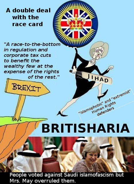 "Mrs May and BBC digging a racist ""British"" sharia caliphate under the Brexit cliff"