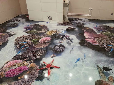 Decoración de baño con coral