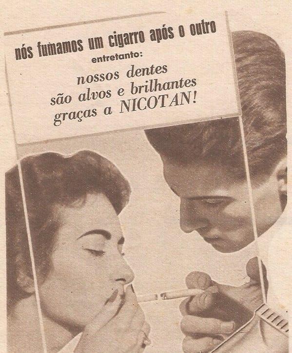 Propaganda polêmica do creme dental Nicotan voltado para fumantes
