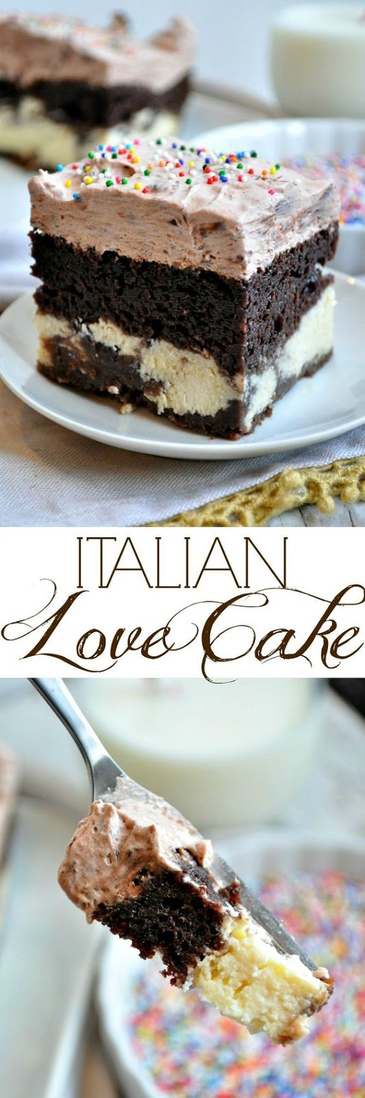 This Italian Love Cake starts with a boxed cake mix for an easy dessert recipe that only looks fancy! With chocolate, sweet ricotta and a whipped pudding topping, the layered Italian cake is moist, rich and perfect for Valentine's Day, birthdays, or any other special occasion!