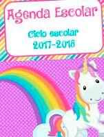 Agenda escolar de unicornio en pdf