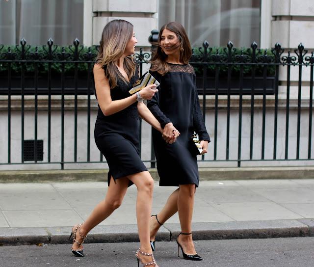 Reiss black lace LBD designer heels