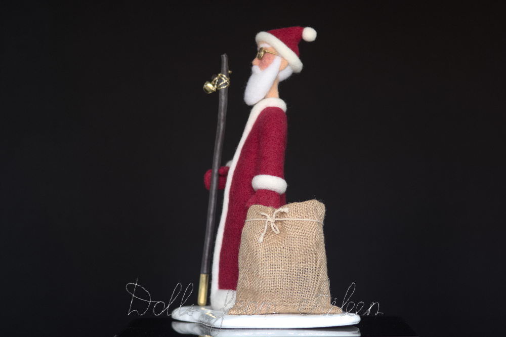 OOAK needle felted Santa Claus doll, side view