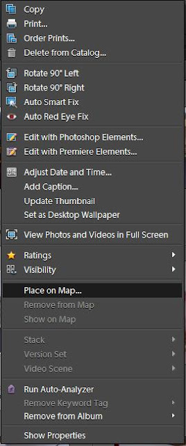 How to add GPS information in a file through Adobe Photoshop Elements (Organizer) : Many times I have seen people looking for solution to add GPS info to their files. Here is one of the method to do it in Adobe Photoshop Elements Organizer:1. Right click on Photograph in Organizer2. Click on