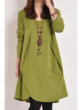 Asym Plain Long Sleeve Pocket Women's Casual Dress