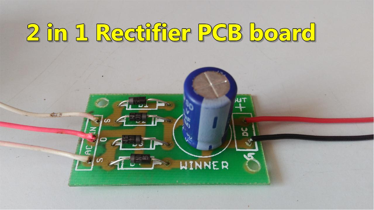 medium resolution of 2 in 1 ac to dc rectifier pcb board full wave bridge center tapped rectifier pcb circuit diagram