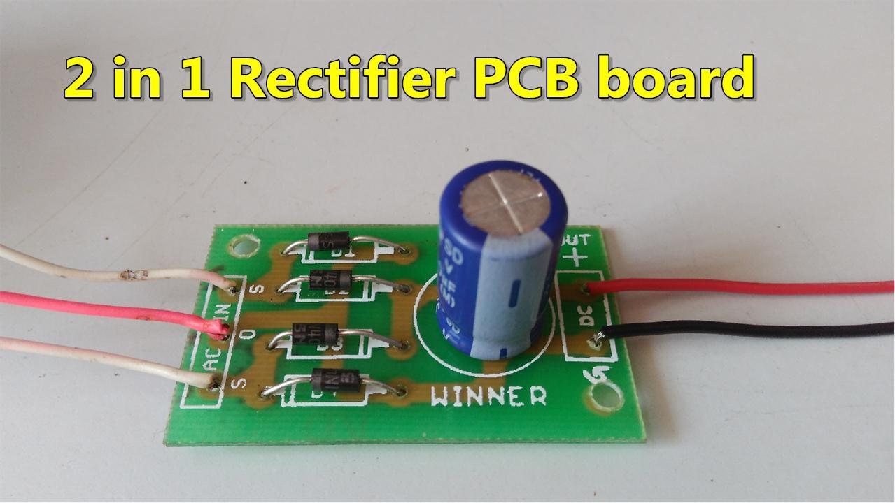 2 in 1 ac to dc rectifier pcb board full wave bridge center tapped rectifier pcb circuit diagram [ 1279 x 720 Pixel ]